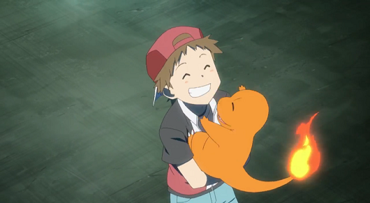 Red and his Charmander from Pokemon Origins